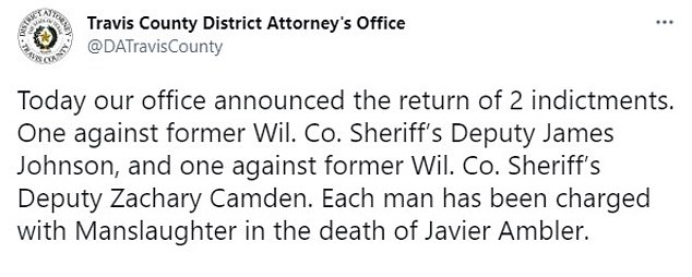 Travis County District Attorney Jose Garza announced on Twitter that two former deputies had been indicted