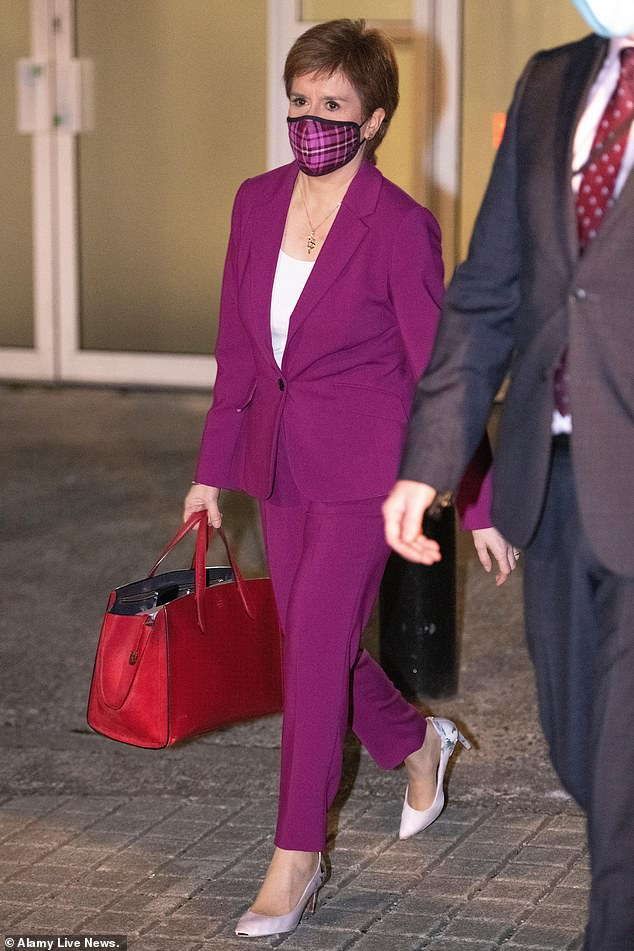 Ms Sturgeon leaving last night's election debate, which saw several frustrated exchanges