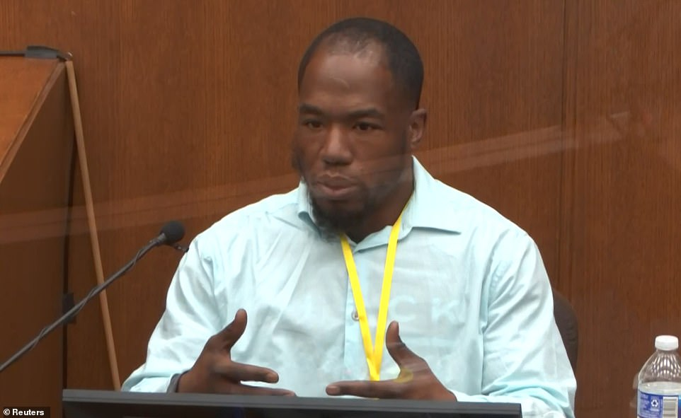 Testifying at Derek Chauvin's trial on Tuesday, Donald Winn Williams II (pictured) said hecalled 911 about the cop kneeling on George Floyd's neck because he believed he 'witnessed a murder'