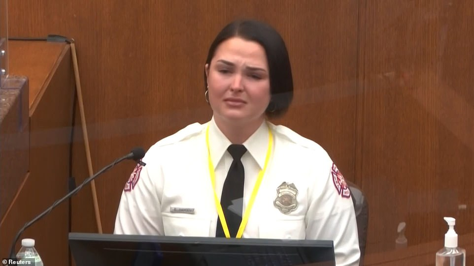 Hansen testified at Chauvin's murder trial on Tuesday about how her desperate pleas to be allowed to provide George Floyd with life-saving medical assistance were ignored by the officers who pinned him down and blocked by officer Tou Thao