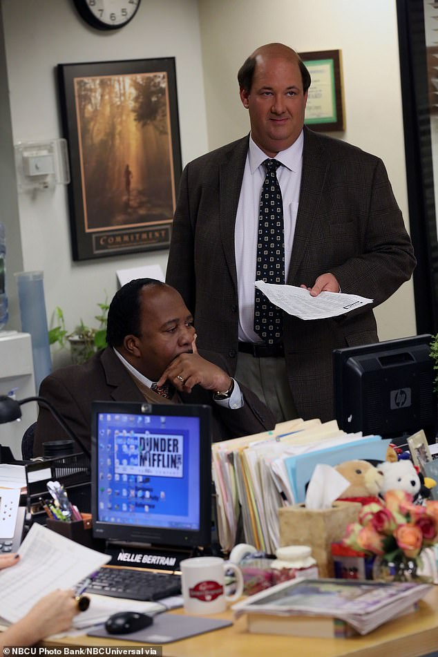 BrianBaumgartner, playing Kevin Malone, right, and co-starLeslie David Baker as Stanley Hudson in The Office