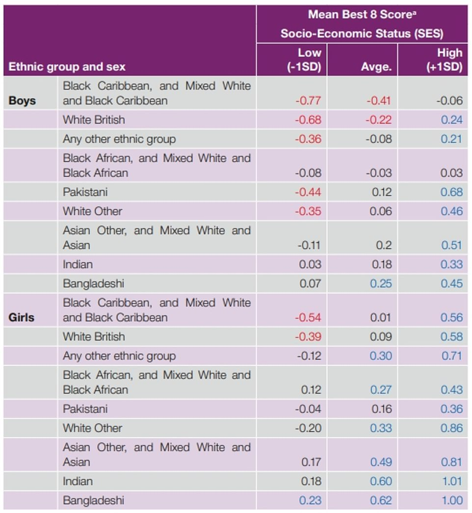The review highlighted the different fortunes of ethnic groups, pointing out that white British boys from poorer backgrounds are among the most disadvantaged. These figures show the difference between the mean score for the group and the grand mean score across all pupils - which is equivalent to zero