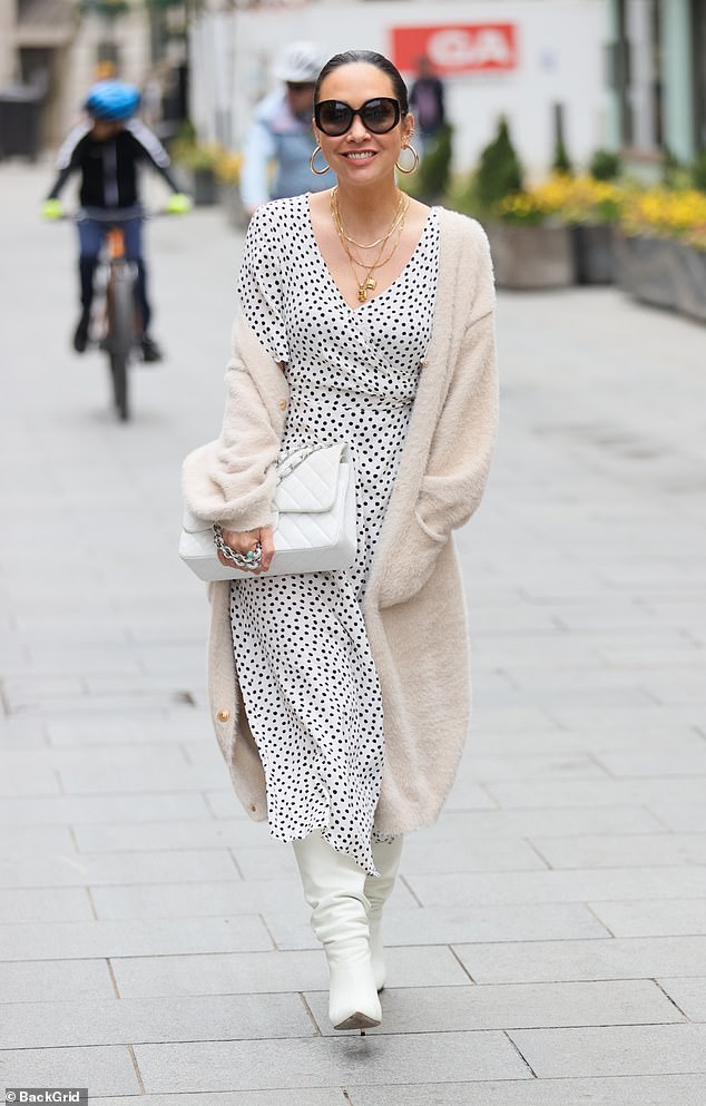 Stylish:Myleene Klass looked radiant as ever as she arrived to Global Studios to present her Smooth Radio show on Wednesday