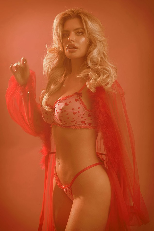 Divine: She slipped into the red mesh Candy Fellin' Lovesick bralette and thong set from Dolls Kill, teamed the brand's Hot Sugar Coated Crush Marabou feather trim robe