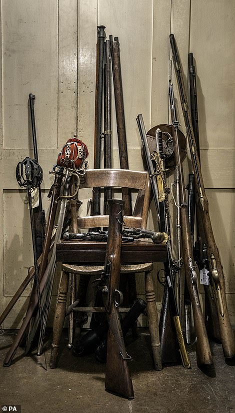 A collection of swords and guns were found inside the castle