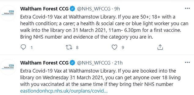 The group yesterday sent out a Tweet telling those booked in for a vaccine on Wednesday that they can bring anyone over 18 living with them to get the jab at the same time - if they have their NHS number - due to 'extra Covid-19 vaccines'. But at 8am this morning, the group announced that anyone who falls into the required categories can walk in for their first dose of the jab