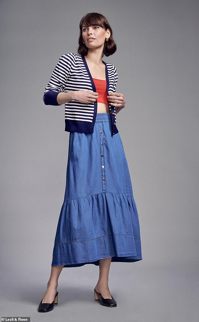 Knit, £36, warehouse fashion.com; bralette, £3.99, newlook.com; skirt, £150, meandem.com; mules, £139, kurt geiger.com