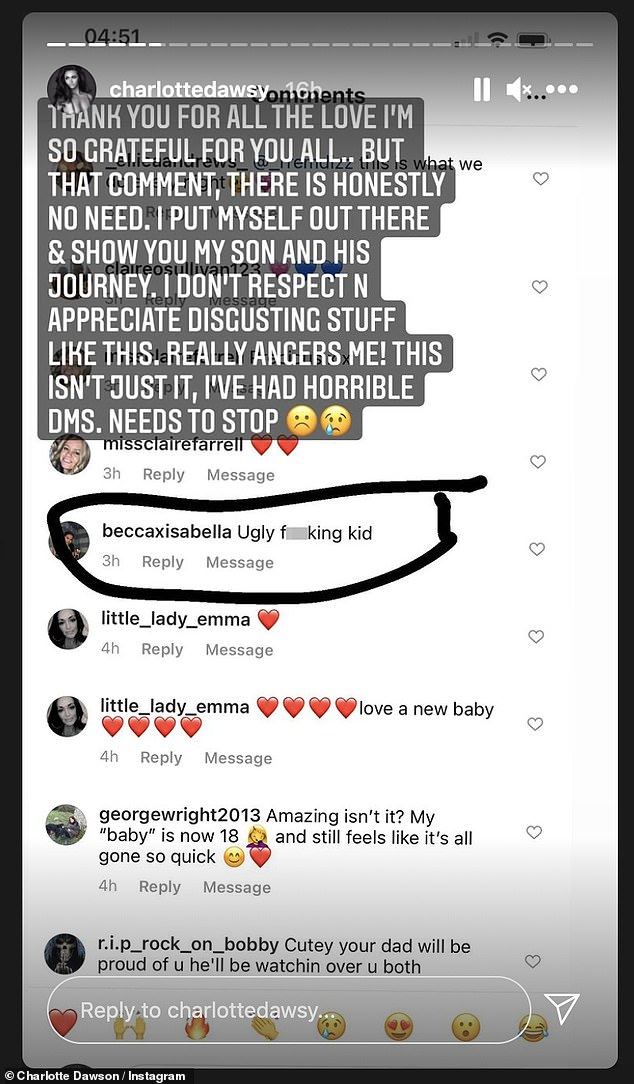 What the...!?Charlotte then shared a screengrab of some of the many messages left beneath her earlier video of newborn Noah, circling one particularly vile comment