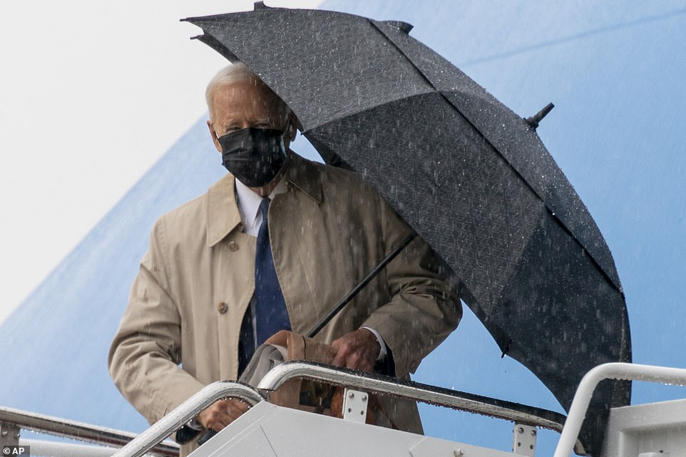 President Joe Biden walked up Air Force One's stairs very gingerly on Wednesday after his fall earlier this month. He held onto both an umbrella and a briefcase during his ascent. He's in Pittsburgh to debut his infrastructure plan