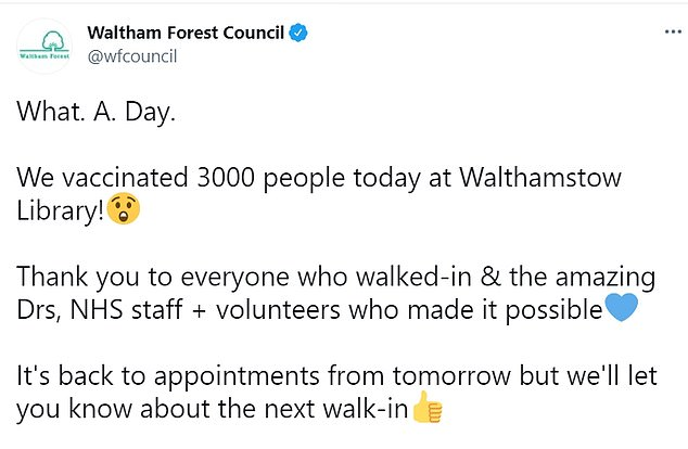 Waltham Forest council later updated this number, adding: 'What. A. Day. We vaccinated 3000 people today at Walthamstow Library'