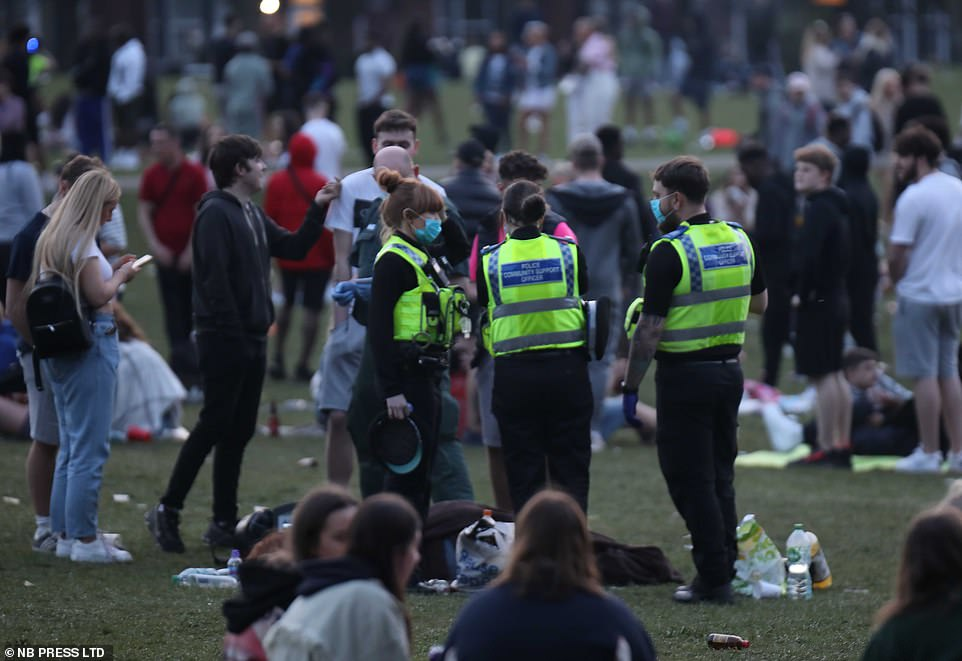 Police community support officers patrolled Hyde Park in Leeds yesterday, where thousands of drinkers had gathered