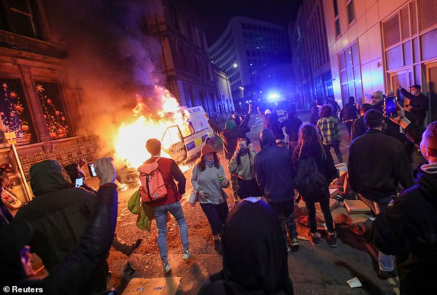 The riot saw 500 people march on Bridewell police station and set fire to police vehicles and attack the station