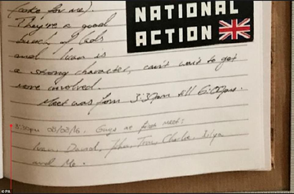 A notebook found in the bedroom of Hannam contained a sticker for National Action