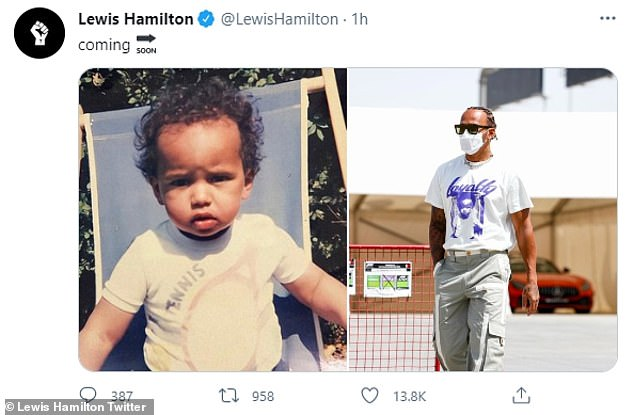 'Coming soon': Lewis recently hinted that he was launching a clothing line when he revealed that the t-shirt he wore at the Bahrain Grand Prix featured a photo of HIMSELF as a child.