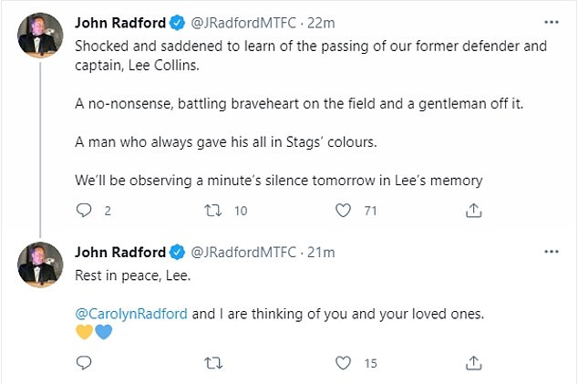 The Mansfield Town chairman John Radford paid his respects to the Stags' former captain