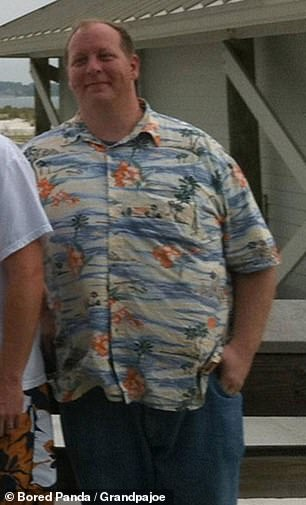 Before, the man was happy to wear large Hawaiin shirts