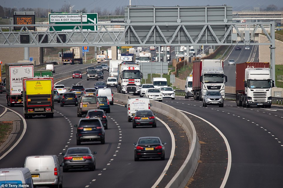 A survey by the RAC projects 5.6million cars will hit the road this weekend to visit loved ones, taking advantage of the four-day holiday and end of the 'stay at home' orders, which were replaced with 'stay local' on Monday. A14 traffic today, pictured