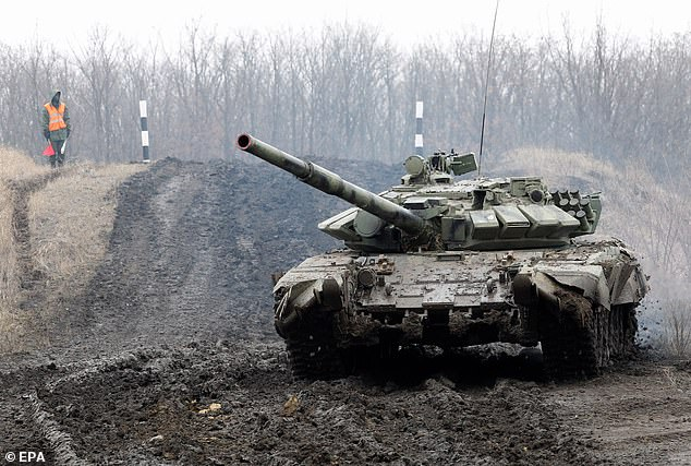 The Kremlin said Thursday Ukraine and the West should not 'worry' about Russian troop movements on the Ukrainian border (pictured, a tank of pro-Russian militants of the self-proclaimed Donetsk People's Republic)