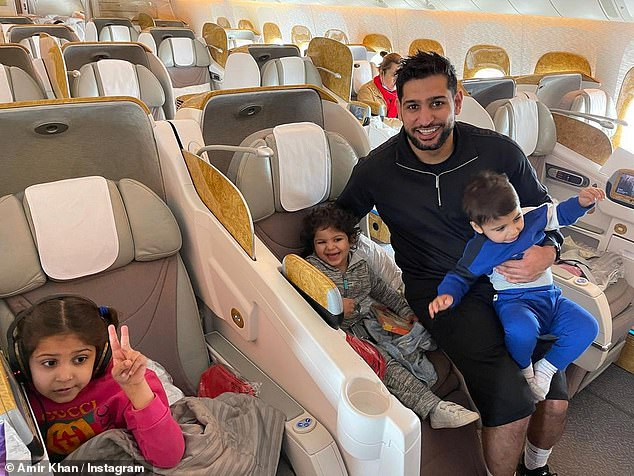 Off again are you? Despite backlash in December amid his trips to the UEA amid the coronavirus pandemic, Amir Khan was back on a plane on Thursday, bound for Dubai International Airport with his three young children