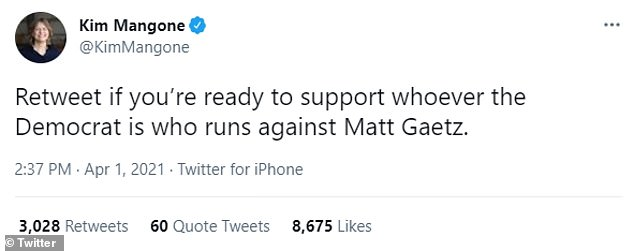Kim Mangone, the former Democratic Nominee for Congress in California who lost to McCarthy, also hit out at Gaetz on Twitter