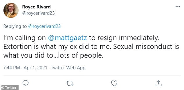 Several members of the public also voiced outrage over the allegations about Gaetz and demanded he resign