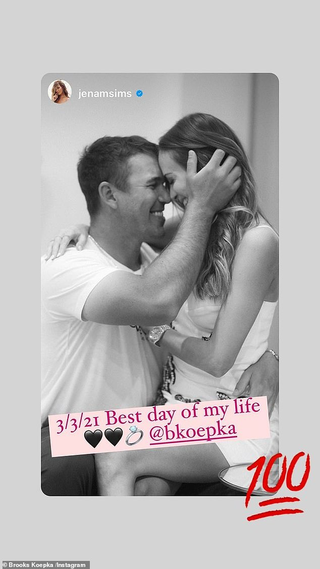 Best day:The Instagram story post showed the couple happily embracing, which Sims captioned, '3/3/21 Best day of my life @bkoepka'