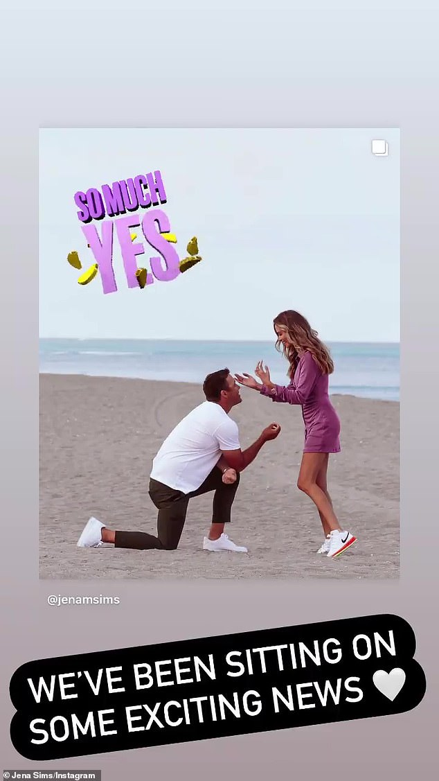 Popping the question:The golfer was wearing a white Givenchy t-shirt, black pants and white sneaks when he dropped to one knee, while Sims was wearing a light purple mini-dress and white Nike sneakers