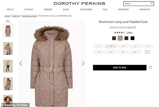 The same coat was in the sale for £30 in Warehouse and £66.75 in Coast