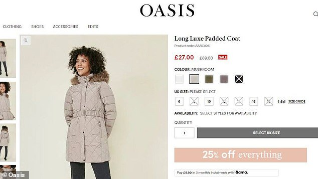 The BBC investigation found a padded coat was originally sold for £89 at Oasis but was retailing for £65 at Dorothy Perkins