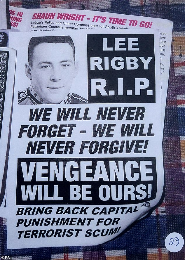 Pictured: A Far Right pamphlet dealing with the death of Drummer Rigby, the soldier hacked to death by Islamic extremists near Woolwich barracks in 2013, found at Davies' home