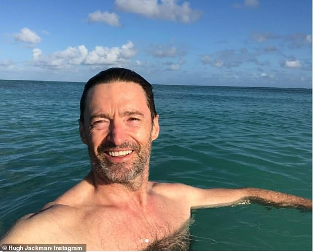 Swim fan:Hugh Jackman (pictured) made sure to protect his pale complexion during a swim on Friday. The actor, 52, shared two Instagram images in which he stripped down for a dip in the ocean, explaining that he'd worn loads of sunscreen