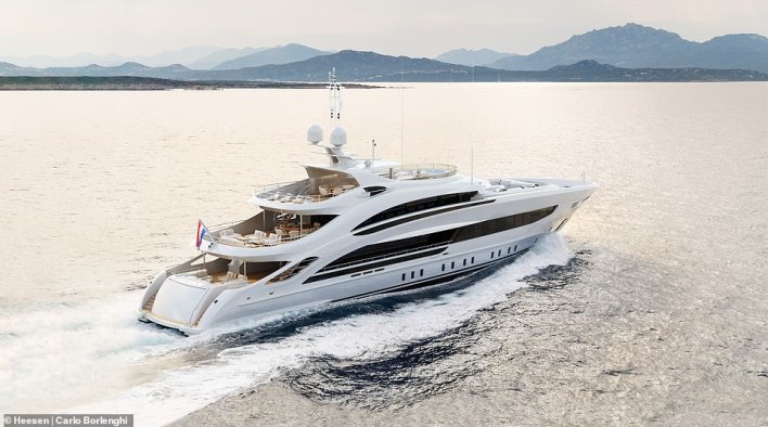 Aura comes with a Scandi-chic interior, a fold-out swim platform, and a price tag of £33million-plus
