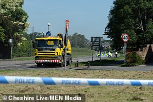 Police patrols at the scene of the collision in Astbury, Cheshire, on June 25 2020