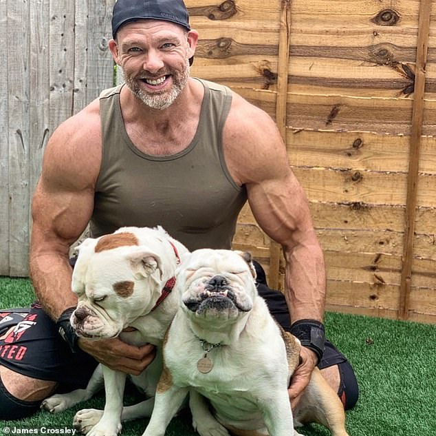 Amazing: After years of gruelling sports, competitions and competitive lifting, James Crossley, 47, has turned his skills to yoga in a bid to age 'pain free' (pictured withBulldogs - Smudge and Lyttle)