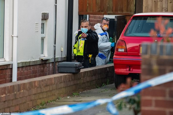 Police at the scene in Rowely Regis, West Midlands.There was a large presence of police at the scene following the incident