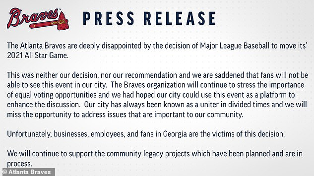 The Atlanta Braves, the All-Star Game's host team, criticized MLB's decision in a statement, saying the club is 'deeply disappointed'