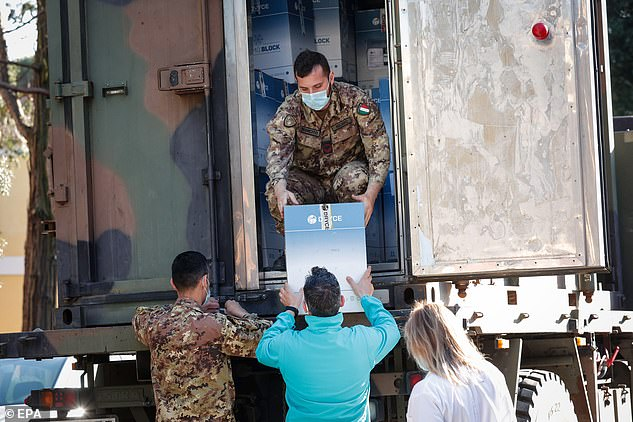 Doses of AstraZeneca Covid vaccines are delivered in Rome, Italy. Regional Affairs Minister Mariastella Gelmini said on Friday that Italy set a new record of over 300,000 Covid vaccinations yesterday
