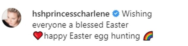 Princess Charlene of Monaco has shared a sweet snap of her family today to mark Easter, amid claims her husband Prince Albert has fathered a third love child while the couple were together