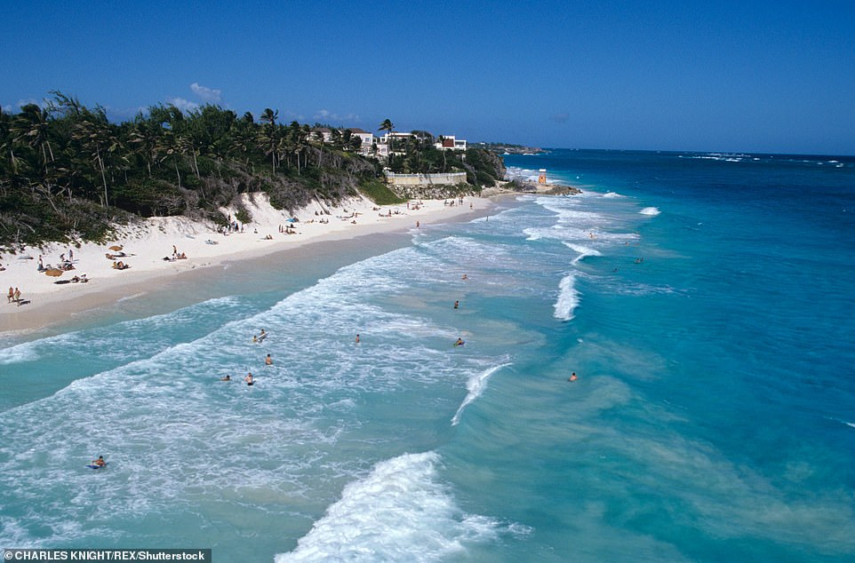 The latest update comes as it emerged families could be forced to fork out hundreds of pounds for Covid-19 tests to go on foreign holidays this summer if travel bans on some countries are lifted by the Government. Pictured: Barbados