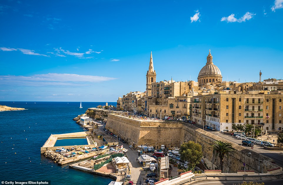 Others tipped to be at the front of the queue include Gibraltar, Israel, the Seychelles, Dubai, Malta, the Maldives and Singapore. Pictured:Valletta, Malta