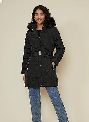 Pictured: The black padded coat cost £27 at Oasis