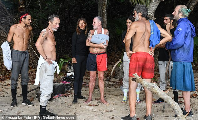 Together: Honouring his comeback, the contestants congregated at the main camping area on Day 19 of the show to chat with the football ace