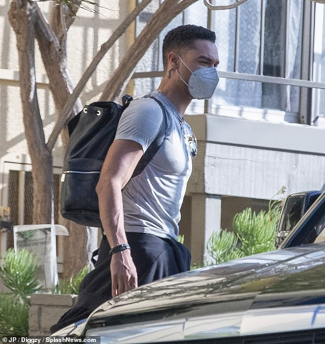 Stepping out:Bridgerton star Rege-Jean Page was spotted leaving his Los Angeles apartment as he was seen for the first time since announcing his departure from the show