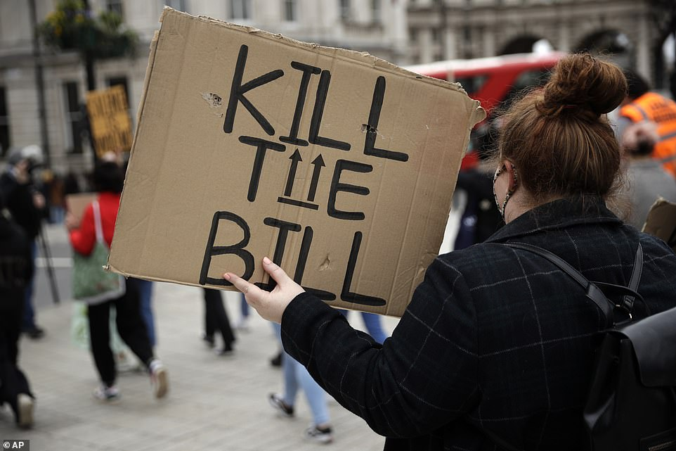 Protestors have gathered at Hyde Park today chanting, banging drums and waving placards daubed with Kill The Bill slogans