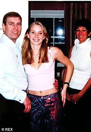 PrinceAndrew is pictured with Virginia Roberts, aged 17, and Maxwell in 2001