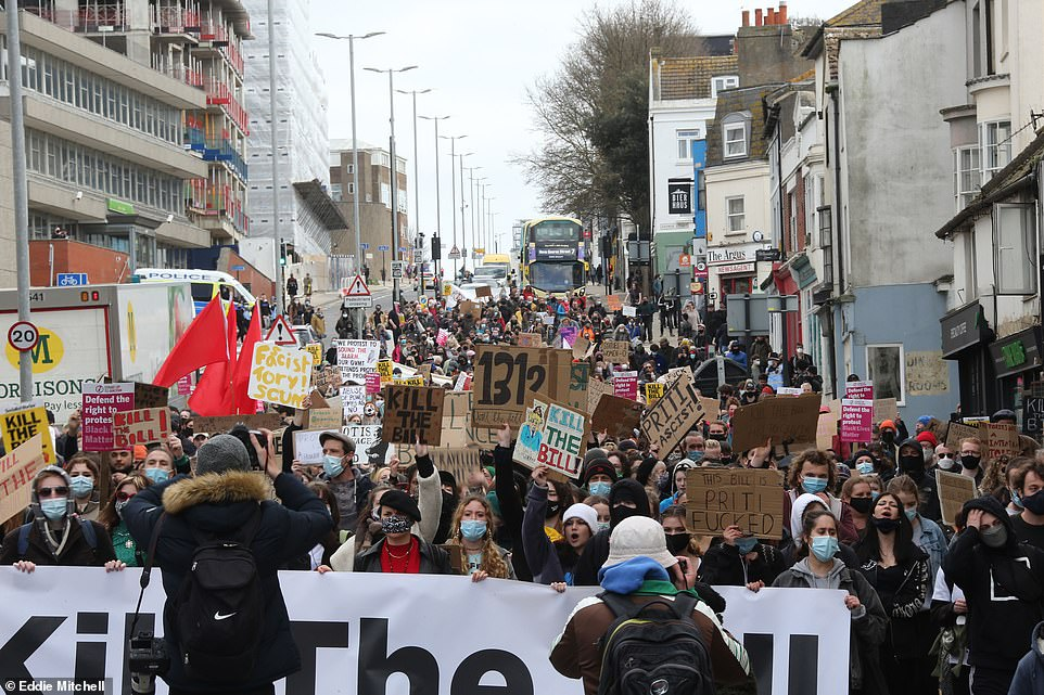 Police have braced for weekend of chaos with more rallies set to take place in towns and cities across the UK. Pictured: Protests in Brighton