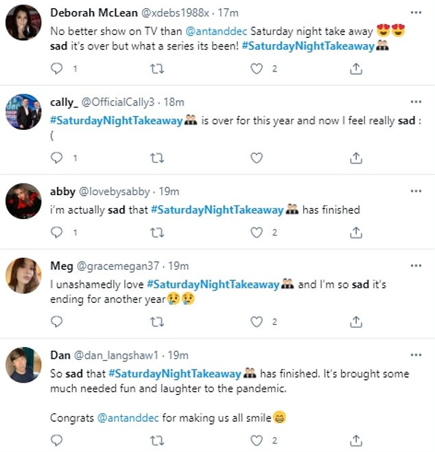 Heartbroken: Viewers were left devastated over the final episode of the series as they took to Twitter to insist the show should be a regular staple on Saturdays
