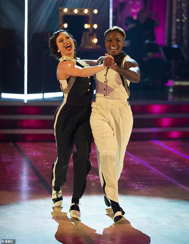 A first:The duo would follow in the footsteps of Nicola Adams and Katya Jones who made history during the last season as the first ever same-sex pairing to compete (pictured)