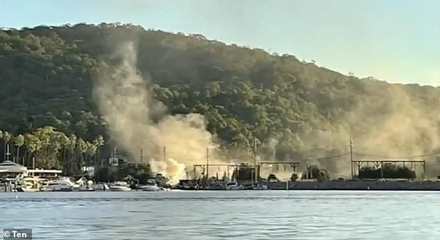 Eight people have been rushed to hospital after a boat exploded at the Hawkesbury River Marina, at Brooklyn (pictured), just after 5pm on Sunday