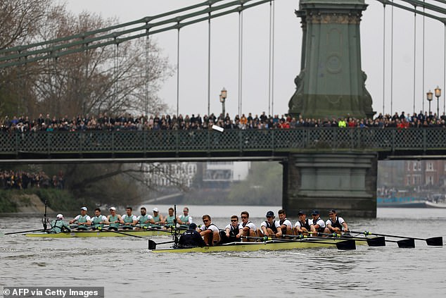 The race was cancelled last year due to coronavirus and the closure of the unsafe Hammersmith Bridge (pictured during the 2019 Boat Race) which boats, except emergency vessels, are not allowed to travel under